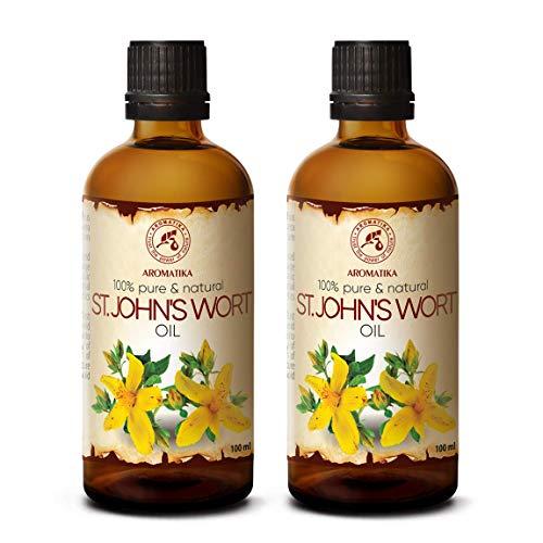 Johanniskrautöl 200ml - England - 100% Reines & Natürlich - Johanniskraut Öl Mazerat - Pflege für Gesicht - Körper - Haut - Haare - Massage - St John's Wort Oil