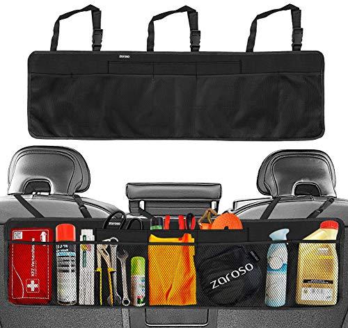 zaroso Kofferraum Organizer fürs Auto/KFZ Netztaschen [100x30cm] Klett Befestigung | Kofferraum Tasche mit Gepäcknetzen in Schwarz