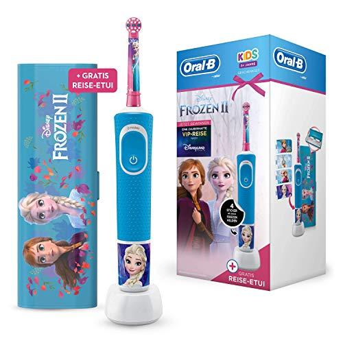 Oral-B Kids Frozen Special Edition Elektrische Zahnbürste, mit Disney-Stickern und Gratis Frozen Reise-Etui, für Kinder ab 3 Jahren, blau