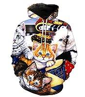 男性女性長袖パーカーノベルティ3D猫パターンデジタル印刷カップルフード付きスウェットシャツポケット付き,XL