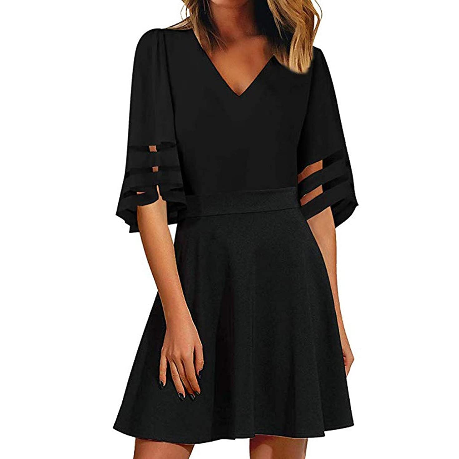 Nihewoo Womens Dresses Mesh Maxi Dress 3/4 Bell Sleeve V-Neck Flare Dress Loose Swing T-Shirt Dress Easter Dresses