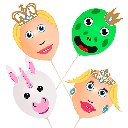 Check Out This Folat Balloon Heads Prince and Princesses Set of 4 Balloons, 4 Cups and Sticks, 5 Sheets of Shapes, 1 Sheet of Stickers.