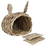 KISSTAKER Rabbits House with 2pcs Bedding Mat, Bunny Hideaway Hand Woven Grass Hideout,Comfortable Chew Toys Playhouse for Guinea Pigs,Chinchilla,Small Animals