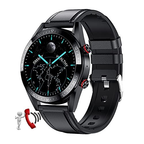 QFSLR Smartwatch Hombre Mujer, con Llamada Bluetooth Monitor De Frecuencia Cardíaca Monitor De Presión Arterial Monitoreo De Oxígeno En Sangre para Android iOS,Negro