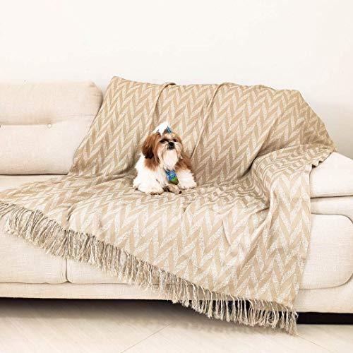 Xale Manta para Sofa Decorativo Jacquard 1,60mx1,40m com Franja desfiada Gales Bege