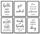 Bathroom Wall Decor, Bathroom Wall Art, Bathroom Quotes, Signs & Rules Decorations, Bathroom Pictures Wall Decor, Bathroom Decor (Set of 6, 8x10in, Unframed)