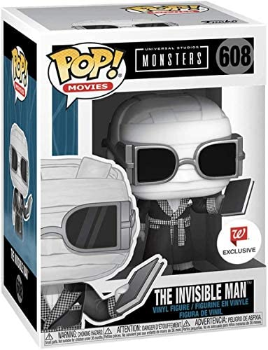Funko Pop Universal Monsters The Invisible Man with Book Black and White Exclusive Figure 608 product image