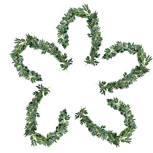 EOGAIL 5 Pack Artificial Leaves Vine Hanging Wreath, 6.6 Ft Fake Willow Leaves Eucalyptus Vine Garland, Ivy Vine Green Plants for Wedding Decor, Home Greenery Supplies