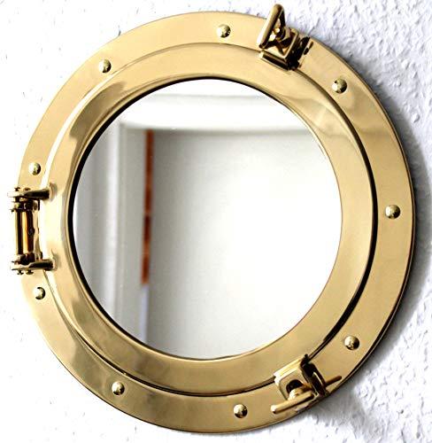 Messing Bullauge Spiegel massiv öffnen Ø 29cm Bullaugenspiegel 2. Wahl