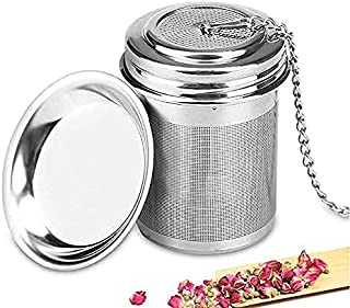 THINK STEEL Tea Ball Infuser 304 Stainless Steel Strainer Filter Infuser with Long Chain and Tray for Loose Leaf and Bloom...