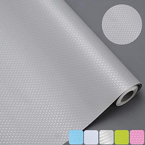 Bloss Non Slip Waterproof Shelf Liners, Healthy EVA Refrigerator Pads Drawer Liner Mat for Kitchen Cabinet Cupboard Shelves, 17.7 x 59 inches - Grey