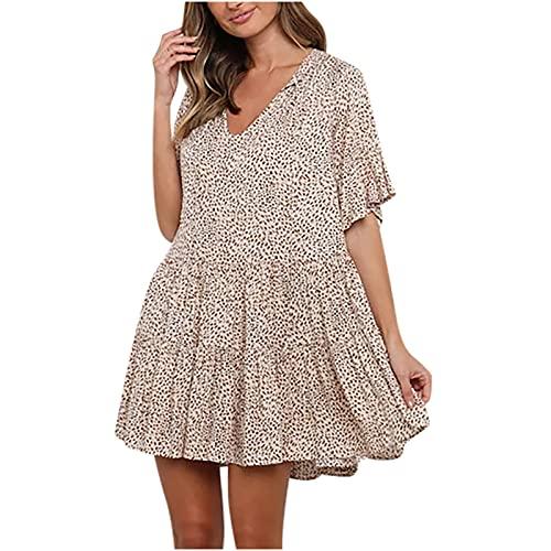 AMhomely Vestido de verano para mujer, elegante, sexy, manga corta, cuello en V, estampado de lunares, vestido corto, elegante, vintage, étnico, vestido suelto, talla Reino Unido