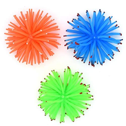 YMWALK Ornamento per acquario con acquario, 3 pezzi di corallo morbido artificiale con ricci di mare a forma di anemone, decorazione per acquario (ver