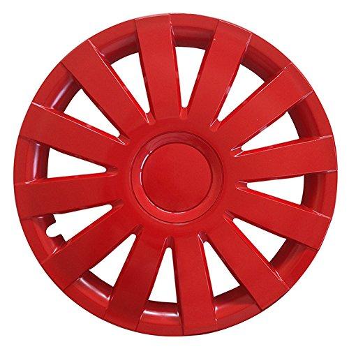 Autoteppich Stylers (Größe wählbar) 15 Zoll Radkappen/Radzierblenden AGAT Rot passend für Fast alle Fahrzeugtypen – universal