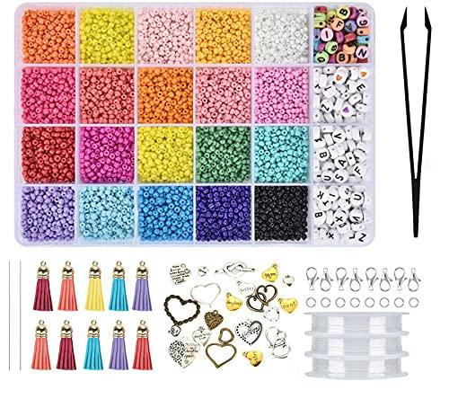 Queta DIY Abalorios para Hacer Pulseras, Cuentas 3mm de 24 Colores, con Cuentas de Letras 7.2 mm, Perlas de Vidrio para Hacer Collares Joyas, cuentas artesanía con 3 Rollos de Línea de Cristal (A)