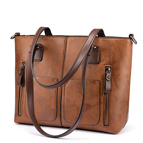 Large capacity and lots of pockets, 2 main compartments, 2 small open pockets, 2 zip pockets, 2 open pockets and 2 zip pockets on the front, 1 zip pocket on the back Vintage faux leather, unique appearance High-quality material, exquisite workmanship...
