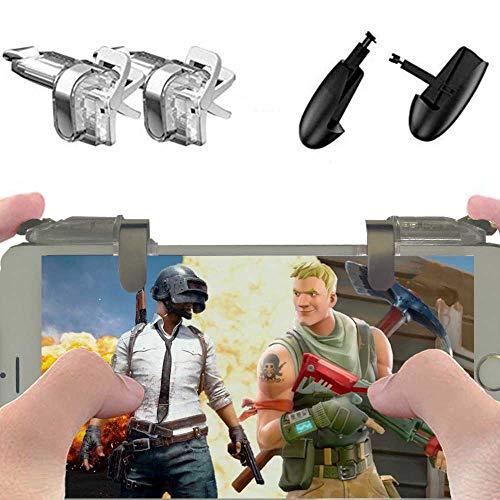 Mobile Game Controller - Azlink [Optimized Version] Pubg Mobile Game Controller,Sensitive L1R1 Mobile Trigger for Battle Royale Games(2 Triggers+1 Gamepad)