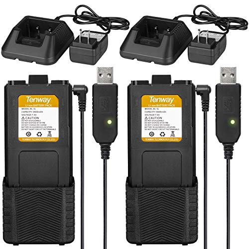 2Pcs UV-5R BF-F8HP Extended Battery BL-5L 3800 mAh with USB Charging Cable and Chargers Compatible with BAOFENG UV-5RX3 RD-5R UV-5RTP UV-5R+ by Tenway