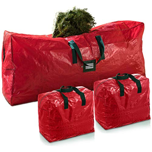 3-Pack Christmas Artificial Tree Storage Bag and Two Garland Bags; Holiday Tree Storage for Trees Up to 9 ft., Includes Card Slot, Dual Zipper, and Carry Handles; Waterproof Polyethylene