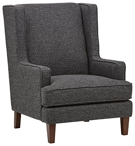 Amazon Brand – Stone & Beam Highland Modern Wingback Living Room Accent Chair, 31.9'W, Caviar