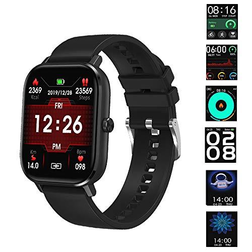 Smartwatches Männer Frauen Fitness Tracker Sportuhr Wasserdicht ip67 Herzfrequenz Blutdruckmessgerät SMS Benachrichtigung Android IOS (schwarz)