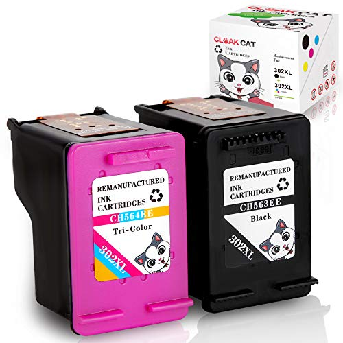 Cloak Cat Cartuchos de tinta remanufacturados para HP 302 302XL de repuesto para HP Officejet 3830 3831 4650 Deskjet 1110 2130 2132 3630 3632 3637 Envy 4520 4524 4527