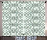 ABAKUHAUS Abstrakt Rustikaler Gardine, Retro-Dreieck-Muster, Schlafzimmer Kräuselband Vorhang mit Schlaufen und Haken, 280 x 225 cm, Eierschalenfarben und Seafoam