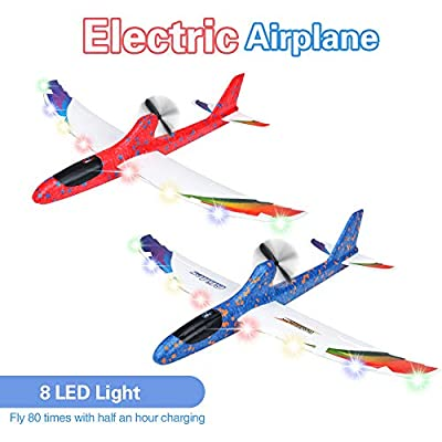 2 Pack Electric Airplane Toys, Rechargeable 2 Flight Mode Throwing Plane, Outside Toys, Foam Education Glider Aeroplane for boys Adults, Family Flying Game Toy,Styrofoam Airplanes,Gift for Kids Teens by BooTaa