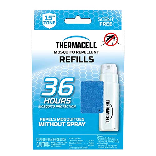 Thermacell Mosquito Repellent Refills, 36-Hour Pack; Contains 9 Repellent Mats, 3 Fuel Cartridges; Compatible with Any Fuel-Powered Thermacell Product; No Spray, Scent, Mess; 15 Ft Zone of Protection