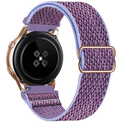 GBPOOT 20mm Correa Compatible con Samsung Galaxy Watch Active 2(40mm/44mm)/Watch 3 41mm/Watch 42mm/Gear S2,Reloj Ajustable de Repuesto Deporte Strap,Pulsera Nylon Banda,Lilac,20mm