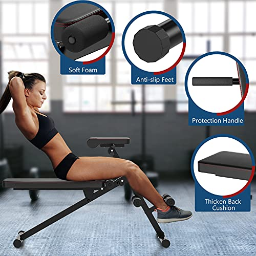 Goplus Multifunctional Weight Bench, Foldable AB Bench with Adjustable Positions, for Strength Training Core Workout Back Extension/ Leg Exercise/ Sit Up/ Push Up (Black)
