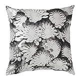 Ikea 504.167.75 Zierkissen 'Vinter' Kissen mit weiß-grauem Blumenmuster - Sofakissen in 50x50 cm - Füllgewicht: 350 g