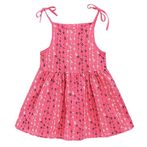 YWLINK MäDchen Volltonfarbe Klassisch Sling Sommer ÄRmellos Kleiden Blume Gestreift Prinzessin Partykleid Sommerkleid Kleidung(Heiß Rosa,120)