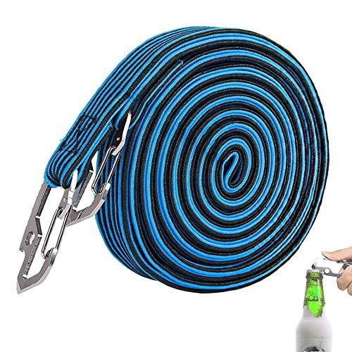 TUSANKE Cuerdas EláSticas Largas, Cuerda EláStica para Equipaje con Gancho de Acero al Carbono,Fijadas con Ganchos de Acero al Carbono, para Bicicletas, Coches EléCtricos (2M Azul)