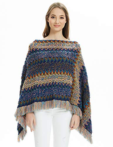 Ferand Gestreifter Mexikanischer Mehrfarbiger Boho Damen Poncho-Schal Strick-Pullover, Navy blau, Einheitsgröße (Beste Passform S-L)