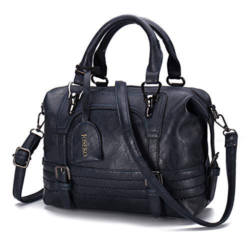 Womens Leather Handbag, JOSEKO Fashion Ladies Crossbody Shoulder Bag Top-Handle Bostanten Messenger Bags Waterproof Tote for Daily Shopping with Long Detachable Strap (Dark Blue)