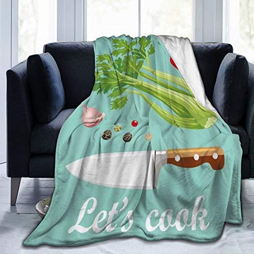 LISNIANY Manta de Franela Suave,Verduras Cocinemos Cita Cuchillo de Cocina Apio Chile Hongos Guisantes Ajo,Cama de Camping para sofá 127x102cm