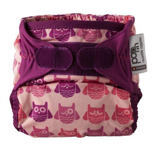 Pop In 3120001107 - Pañal de tela con interior de bambú, color rosa con búos