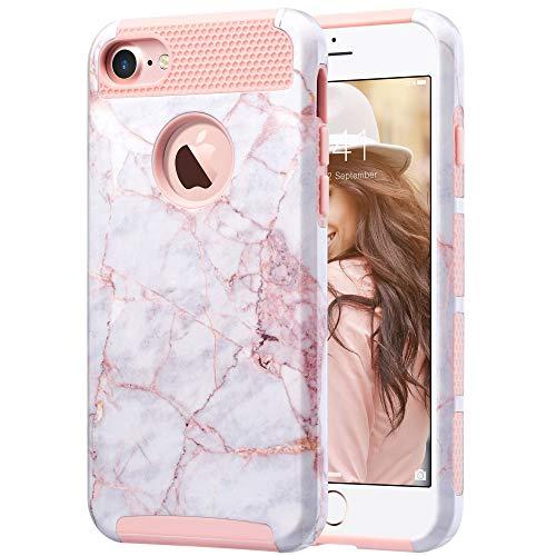 ULAK Cover iPhone 7, Custodia iPhone 7 Marmo Case con Design Slim con Doppio Strato di Protezione Anti collisioni in Silicone Cover per Apple iPhone 7 (4.7 Pollici), Oro Rosa Marmo