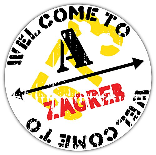 Welkom bij Zagreb Grunge Stempel Bumper Sticker Vinyl Art Decal voor Auto Truck Van Window Bike Laptop