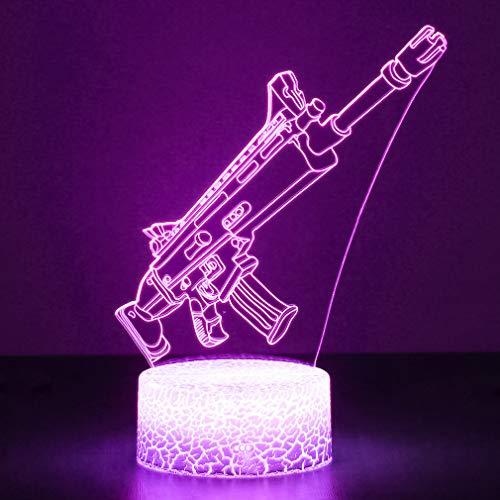 3D Festungslampe Battle Bus RGB Stimmungslampe 7 Farben Sockel Acryl Stereo Illusion LED Tischleuchte Nachttischlampe Crack Character Scar