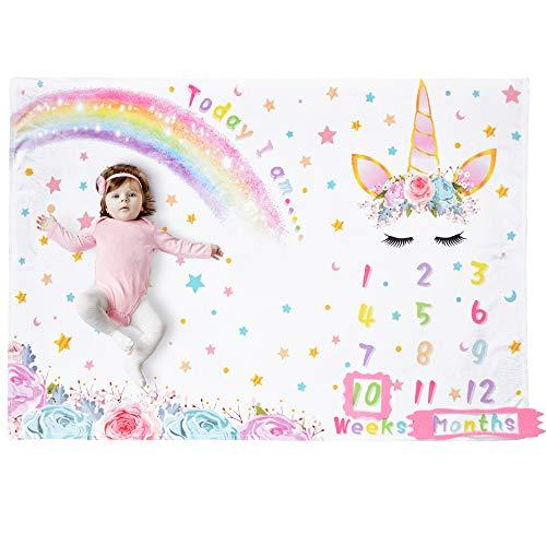 WERNNSAI Einhorn Baby Meilenstein Decke - 150 x 100cm Weiche Flanell Fotografie Hintergrund Decke wöchentlich monatlich Mädchen Infant Quilt Neugeborenen Geburtstag Baby Shower Geschenk