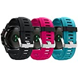 ZSZCXD Band for Garmin Fenix 3 / Fenix 3 HR, Soft Silicone Wristband Replacement Watch Band for Garmin Fenix 3 / Fenix 3 HR Smart Watch (3Pcs,Black&Blue&Rose)