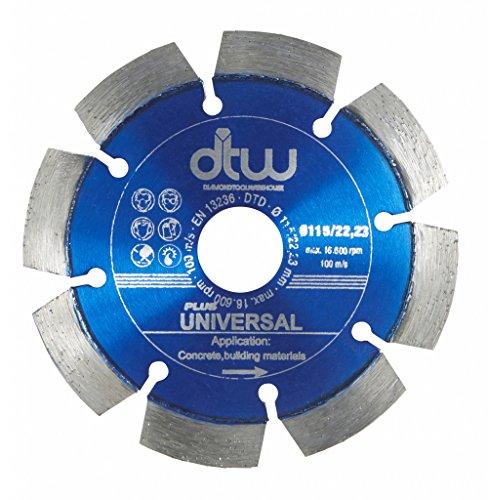 DTW Professionelle Universal-Diamanttrennscheibe für Beton, Ziegel, Sandstein und mehr, 115 mm