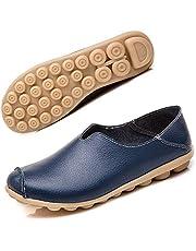 Kvinnors läder mockasiner casual slip-on loafers platta båtskor körskor storlek 35–44