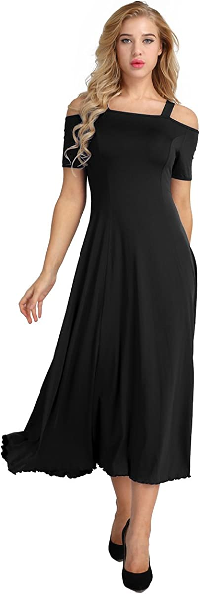 inlzdz Women's Cold Shoulder A-Line Long Cocktail Party Dresses Evening Prom Ball Gown