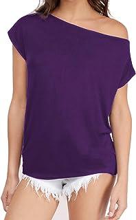 Sarin Mathews Women's Casual Off Shoulder Tops Short Sleeve T Shirts Lose Sexy Tank Tops Blouses