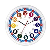 Tinload Telling Time Teaching Clock, 10 inch Silent Movement Analog Learning Clock for Kids, Perfect Room & Wall Decor for Classrooms, Playrooms and Kids Bedrooms