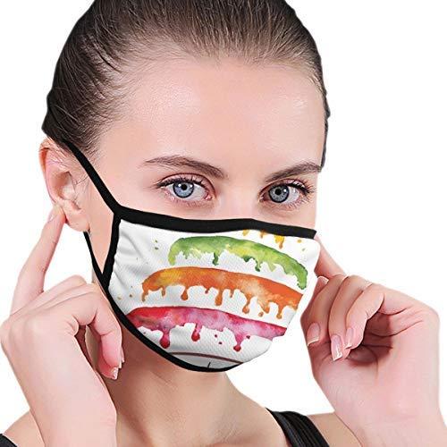 ERSHILIU Gesichtsmaske, buntes Kuchen-Motiv, Sturmhaube, Unisex, wiederverwendbar, winddicht, Anti-Staub-Mund-Bandanas, Outdoor, Camping, Motorrad, Laufen
