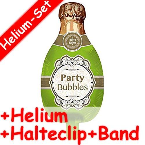 Folienballon Set * Champagner Flasche + Helium FÜLLUNG + Halte Clip + Band * für Kindergeburtstag Oder Motto-Party // Folien Ballon Helium Deko Ballongas Motto Champus Sekt Bubbles